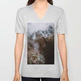 Kerlingarfjöll mountain range in Iceland - Aerial Landscape Photography Unisex V-Neck