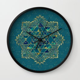 Sri Yantra  / Sri Chakra Gold, Marble and Teal Wall Clock