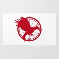 mockingjay Area & Throw Rugs featuring Catching Fire MockingJay - Red by Lauren Lee Design's