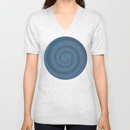 Re-Created Spin Painting (Grayish Blue) by Robert S. Lee Unisex V-Neck