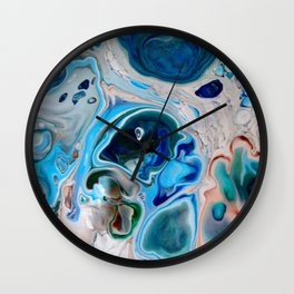 In Too Deep  - Unique Blue Fluid Abstract Painting Wall Clock