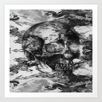 psychadelic Art Prints featuring Black and White Psychadelic skull print  by Seawolf Designs