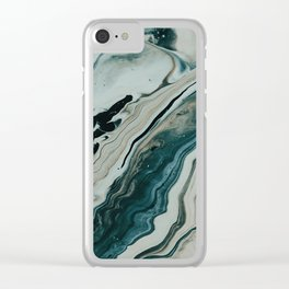 Tranquil Arctic Painting Marble Clear iPhone Case