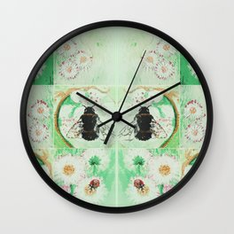 Bees and flowers Wall Clock
