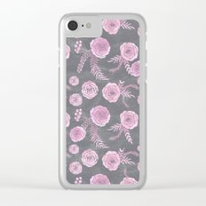 Peony Pattern Grey 2 Clear iPhone Case