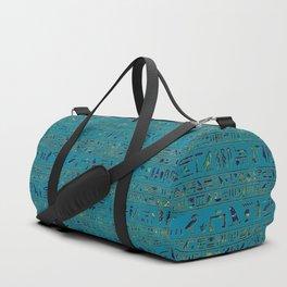 Egyptian hieroglyphs on teal leather texture Duffle Bag