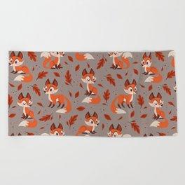 Cute Foxes Beach Towel