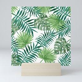 Palm Leaves Foliage Watercolor Green Pattern Tropical Exotic Mini Art Print