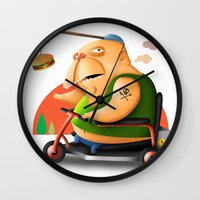 motivation Wall Clocks featuring Motivation by Sloe Illustrations