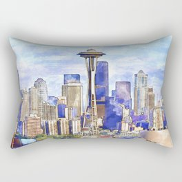 Seattle View in watercolor Rectangular Pillow