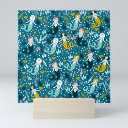 Cute Mermaid and Stars Mini Art Print