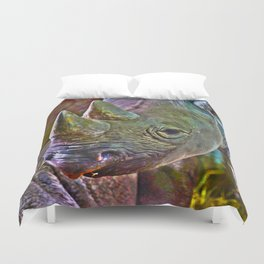 Black Rhino Duvet Cover