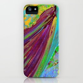 COLOR CHAOS Wild Vibrant Colorful Abstract Acrylic Painting Lime Green Plum Purple Gift Art Decor iPhone Case