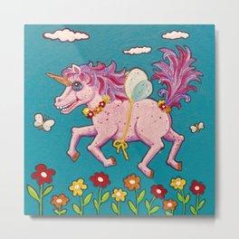 Happy Little Flying Unicorn Metal Print