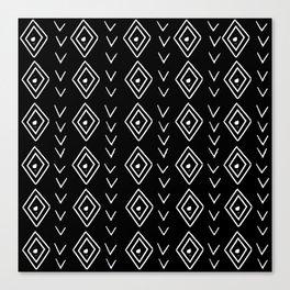mudcloth 8 minimal textured black and white pattern home decor minimalist Canvas Print