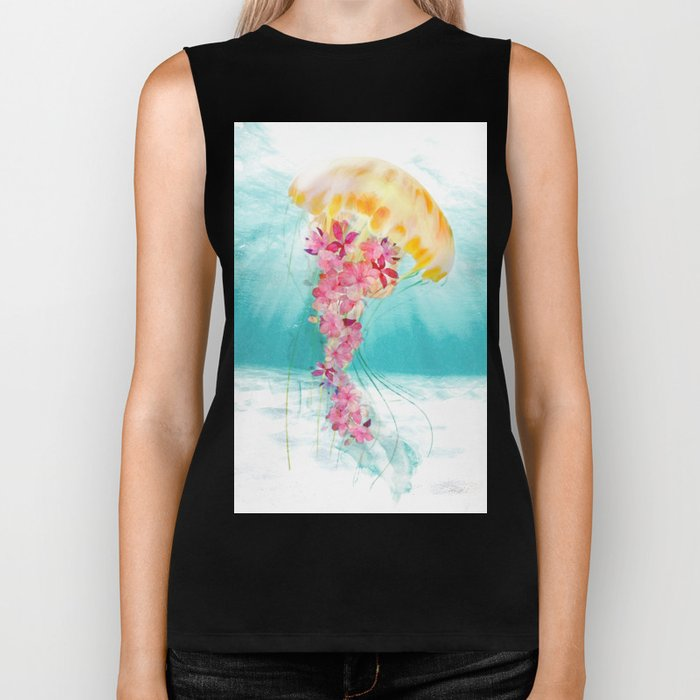 Jellyfish with Flowers Biker Tank