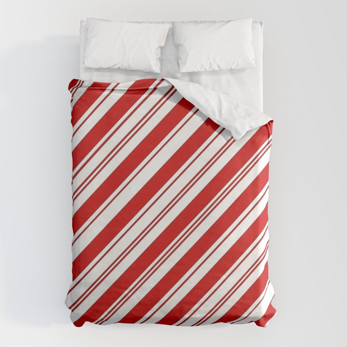 winter holiday xmas red white striped peppermint candy cane Bettbezug