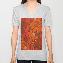 Vintage floral linen fabric  Unisex V-Neck