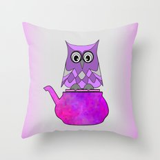 Hoo Loves Tea Throw Pillow