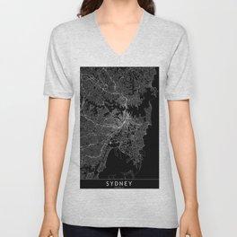 Sydney Black Map Unisex V-Neck