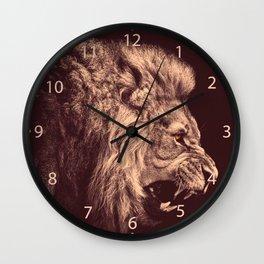lion pencil art lion roar black and white Wall Clock