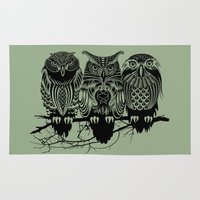 animals Area & Throw Rugs featuring Owls of the Nile by Rachel Caldwell