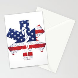 USA Flag EMT Paramedic Caduceus Doctor Nurse EMS Ambulance Gift Stationery Cards
