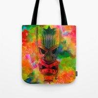 karu kara Tote Bags featuring Tiki Kara by Ionic Slasher