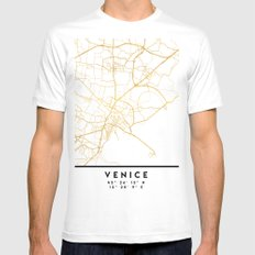 VENICE ITALY CITY STREET MAP ART Mens Fitted Tee MEDIUM White