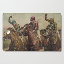 Vintage Finish Line Horse Jockeys Illustration (1891) Cutting Board