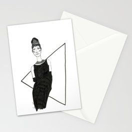 Girl in a black dress Stationery Cards