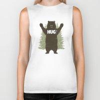 hug Biker Tanks featuring Bear Hug by powerpig