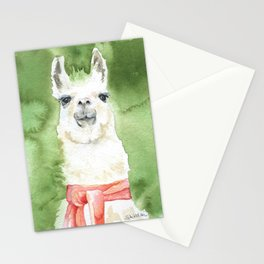Llama with Red Scarf Watercolor Stationery Cards