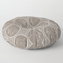 Grisaille Chestnut Brown Neo-Classical Ovals Floor Pillow
