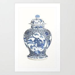 Blue & White Chinoiserie Porcelain Ginger Jar with Country Scene Art Print