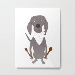 Weim Chef Grey Ghost Weimaraner Dog Hand-painted Pet Drawing Metal Print