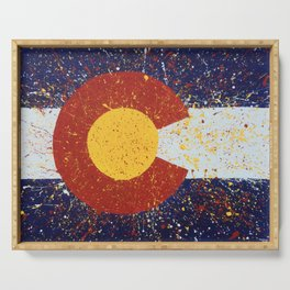 Splatter Colorado Flag Art Serving Tray