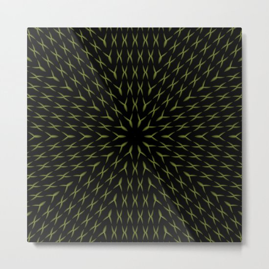PCT2 Fractal in Yellow on Black Metal Print