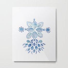 Delft blue romantic floral watercolor pattern in classic blue Metal Print