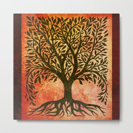 Tree Of Life Warm Tones Metal Print