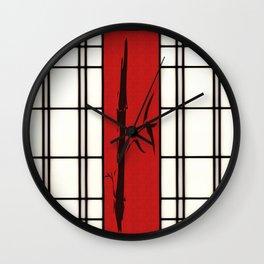 Shoji with bamboo ink painting Wall Clock