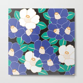 Japanese Style Camellia - Blue and Black Metal Print