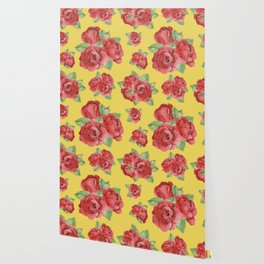 Colorful Vintage Watercolor Red Rose Wallpaper