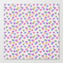 Feminist Valentine Candy Hearts in White and Rainbow, No Wifey Canvas Print