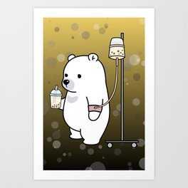 Bubble Tea Bear Art Print