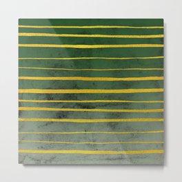 Gold Stripes on Green Metal Print