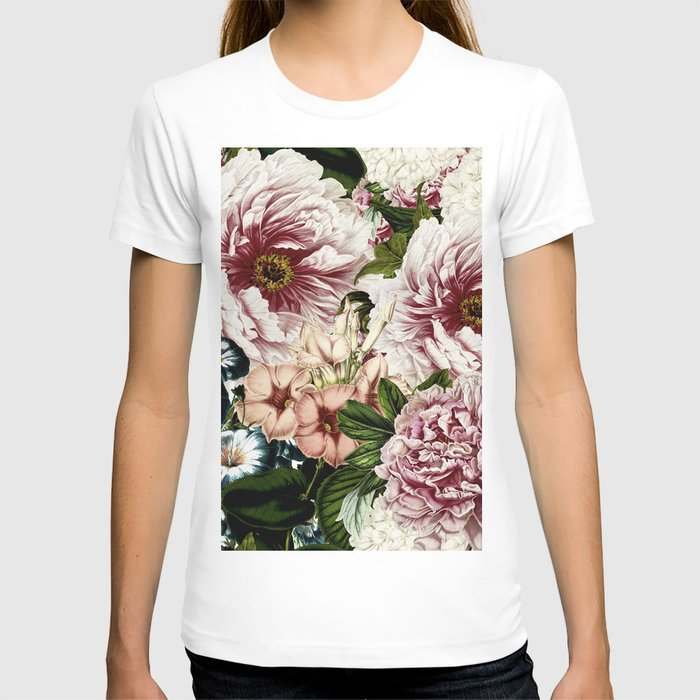 Vintage Peony and Ipomea Pattern - Smelling Dreams T-shirt
