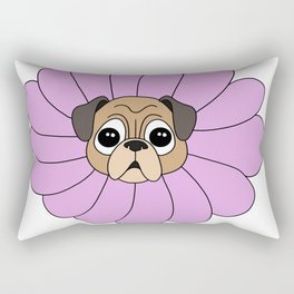 Pug flower Dog Lily Present Cute Carton Girl Wife Rectangular Pillow
