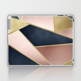 Rose Gold, Pink and Navy Blue Modern Geometric Pattern Laptop & iPad Skin