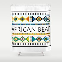 african Shower Curtains featuring African beat by mike lett
